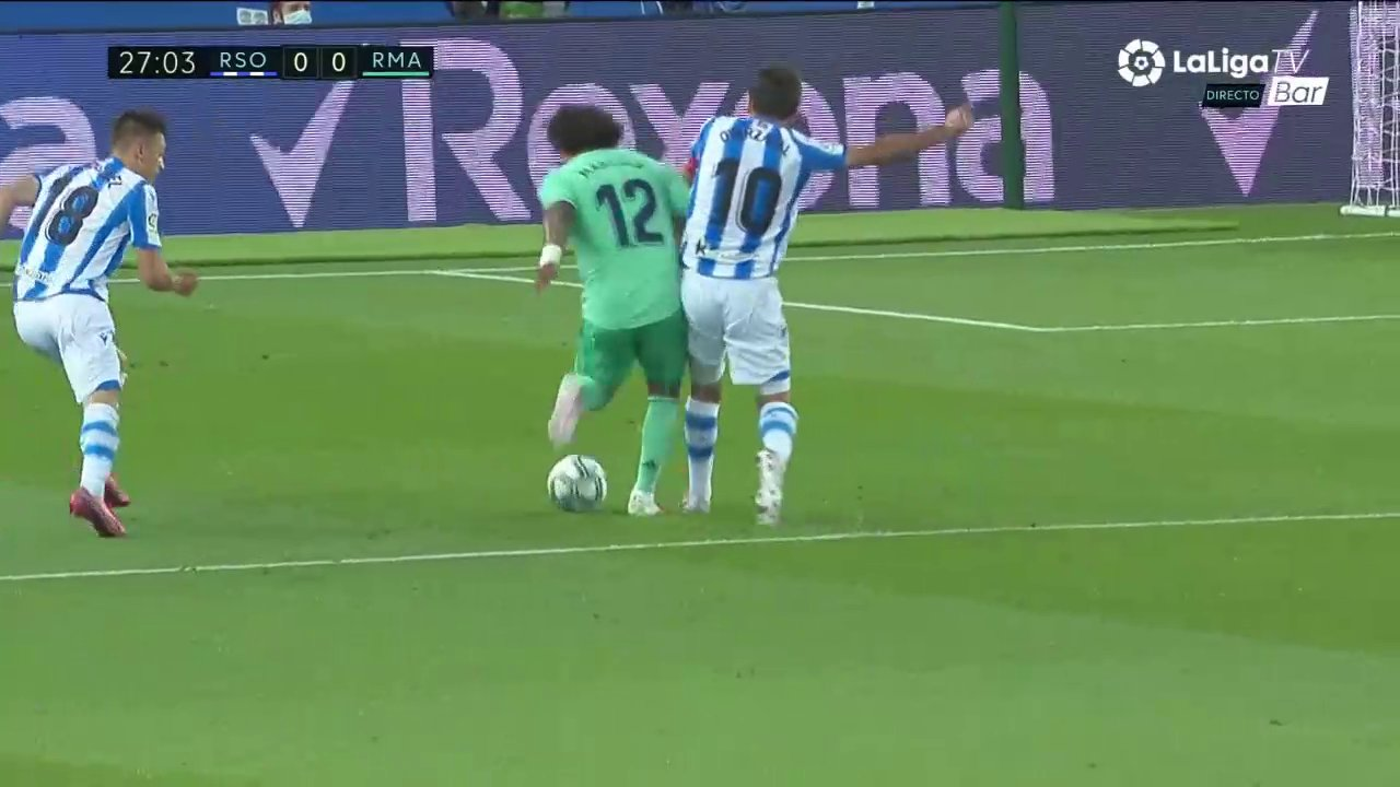Real Madrid's Marcelo denied first half penalty at Real Sociedad