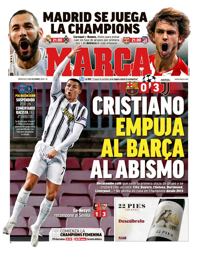 Today S Papers Cristiano Punishes Barcelona Racism Must Stop And Another Failure For The Blaugrana Football Addict
