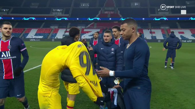 Watch: Kylian Mbappe appears to ask Pedri to swap shirts with him upon the full-time whistle