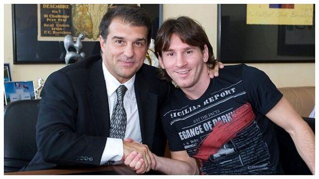 Joan LaBorte y Lionel Messi