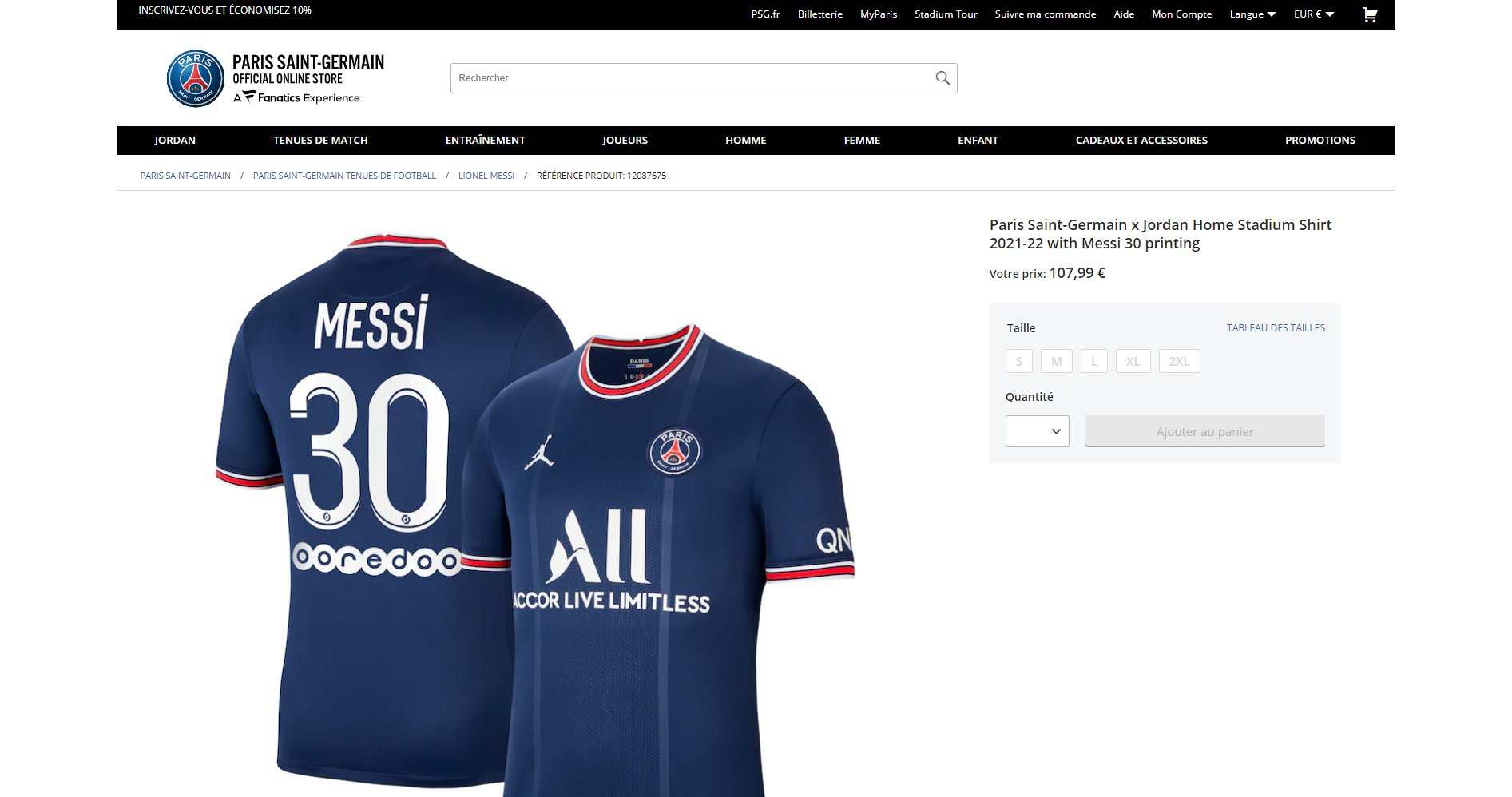 Lionel Messi's shirt sold out on Paris Saint-Germain's official online store in 30 minutes