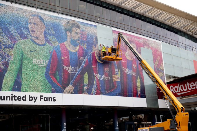 Barcelona begin the post-Messi era by tearing down last season's images from Camp Nou